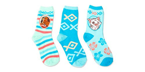 Disney Little Girls' Moana 3 Pack Crews Socks, Assorted Sherbet, 6-8.5