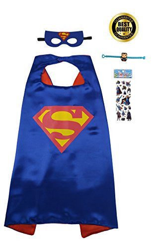 Special 4-Piece Superman Set Includes Cape, Mask, Superhero Stickers and Bracelet