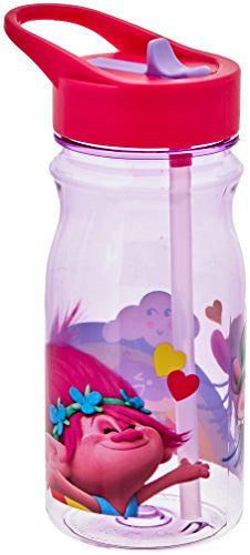 Zak! Designs Tritan Water Bottle with Flip-Up Spout and Straw with Trolls Movie Graphics, Break-resistant and BPA-free Plastic, 16.5 oz.