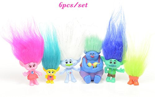 6Pcs/Set 4-7cm Dreamworks Figure, Collectible Dolls, Poppy, Branch, Guy Diamond, Biggie, Smidge, Fuzzbert, PVC Trolls Action Figures Doll Toy Trolls By Ambassador.