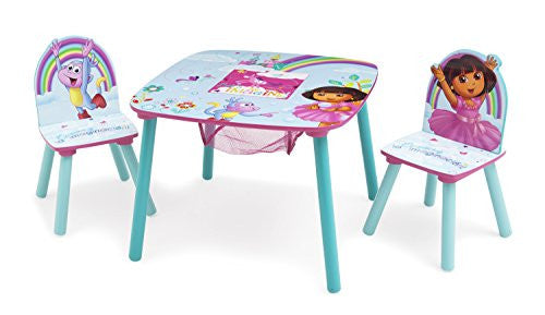 Delta Children Table and Chair Set with Storage, Nick Jr. Dora The Explorer