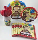 BashBox Curious George Birthday Party Supplies Pack Including Cake & Lunch Plates, Cutlery, Cups & Napkins for 8 Guests
