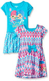 Nickelodeon Little Girls' Shimmer and Shine 2 Pack Dress, Pink/Teal, 4