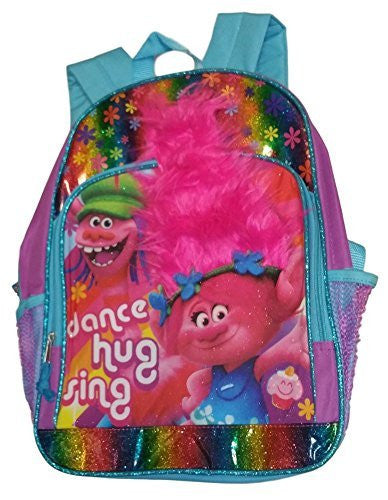 Dreamworks Trolls Glittery Dance Hug Sing Backpack with Hair Accent, 16 inch