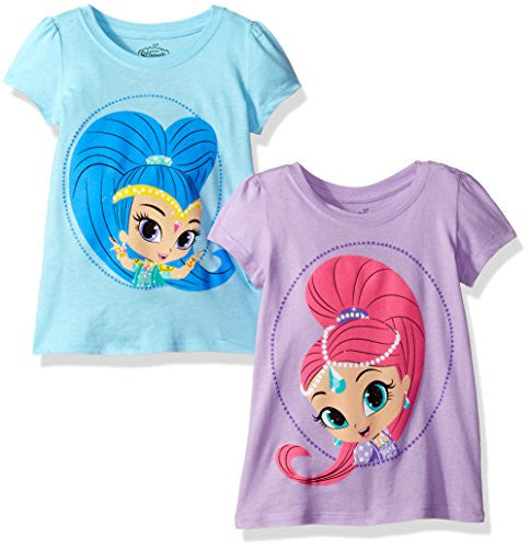 Nickelodeon Toddler Girls' Shimmer and Shine 2 Pack Short Sleeve T-Shirt, Light Blue/Lilac, 5T