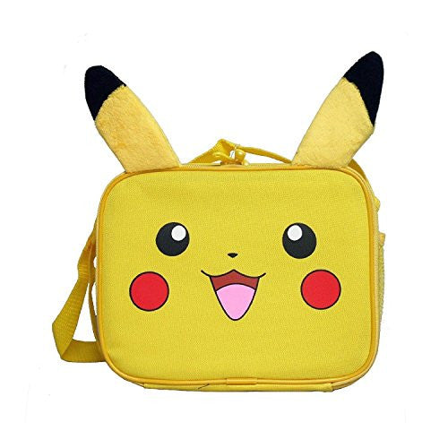 Pokemon KZ23583774 Nintendo Pikachu 3D Plush Ear Insulated Lunch Tote Bag with Adjustable Strap, 10 x 8 x 3-Inches, Yellow