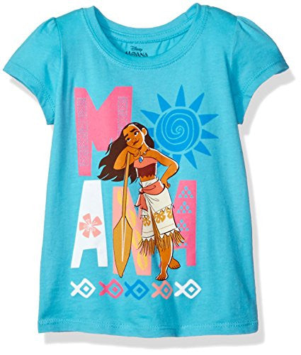 Disney Little Girls' Toddler Moana Short-Sleeved T-Shirt, Aqua Turquoise, 4T