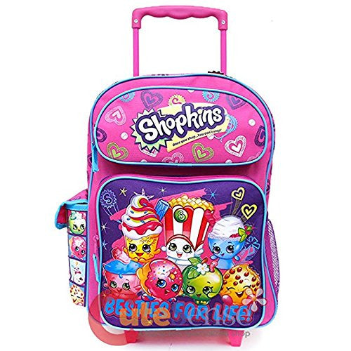 "Shopkins Besties for Life Pink and Purple 16"" Rolling Backpack"