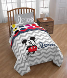 "Disney Mickey Mouse Chevron 72"" x 86"" Reversible Twin/ Full Reversible Comforter, Pink/Gray"