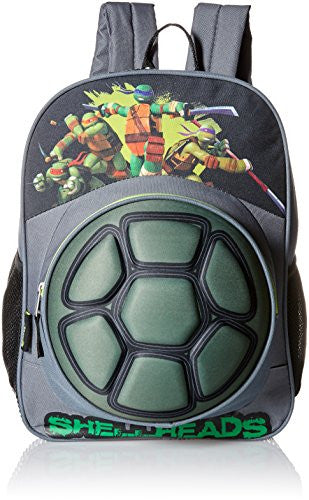 Teenage Mutant Ninja Turtles Big Boys Nickelodeon 3D Eva Turtle Shell Front Pocket 16 Inch Backpack, Grey, One Size