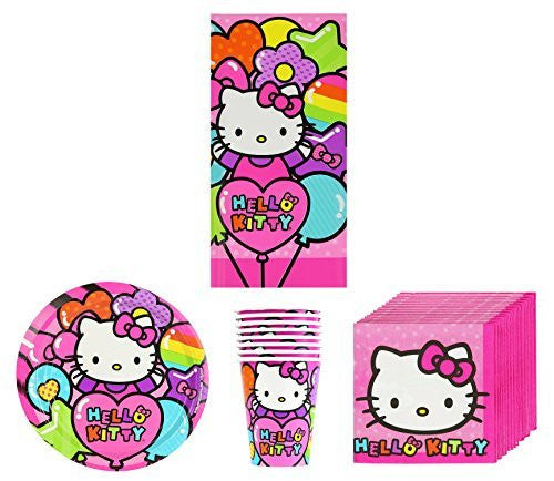 New Sanrio Hello Kitty Rainbow Birthday Party Supplies Pack Bundle Kit Including Plates, Cups, Napkins and Tablecover - 8 Guests