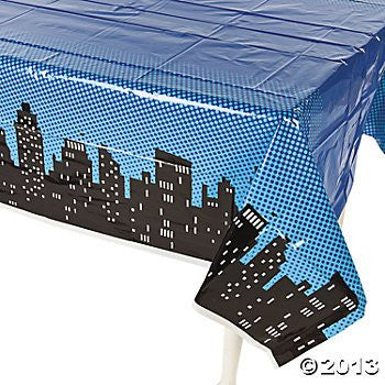 "Superhero Plastic Table Cover 54""x108"" by Fun Express"