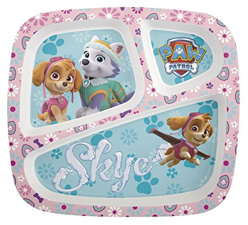 Zak! Designs 3 Section Plate featuring Pink Paw Patrol Graphics, Break-resistant and BPA-free plastic