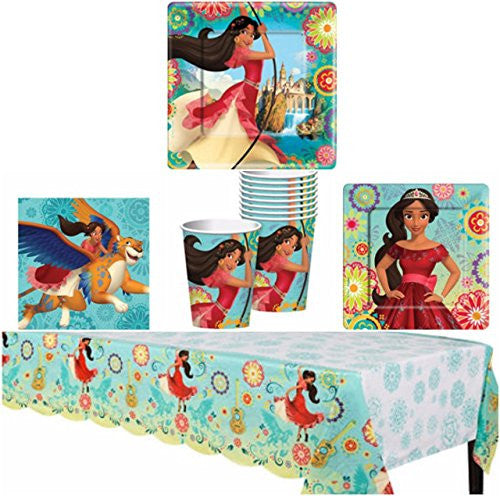 Elena of Avalor Birthday Party Supplies Pack for 8 Guests - Lunch Plates, Dessert Plates, Lunch Napkins, Cups, and a Table Cover