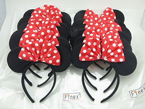 Finex Set of 12 Mickey Minnie Mouse Costume Deluxe Fabric Ears HeadbandSet of 12 (Minnie)