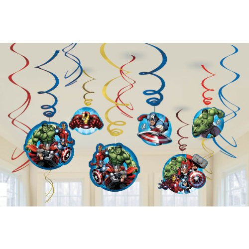 12-Piece Marvel Avengers Assemble Swirl Decorations, Multicolored