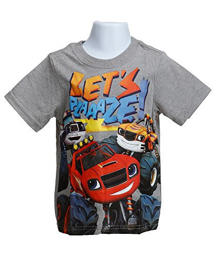 Blaze and Monster Machines Little Boys' Toddler Short Sleeve T-Shirt, Heather Grey, 3T