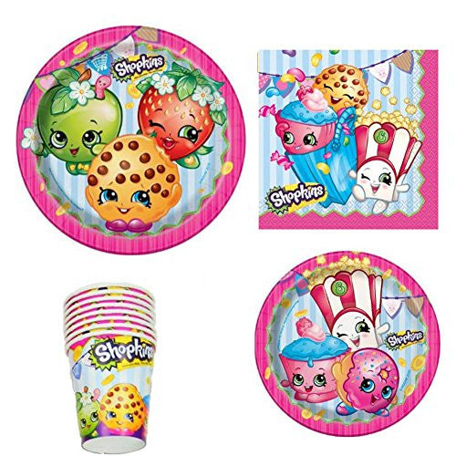 Shopkins Birthday Party Supply Set for 16: Dinner Plates, Dessert Plate, Cups, & Napkins