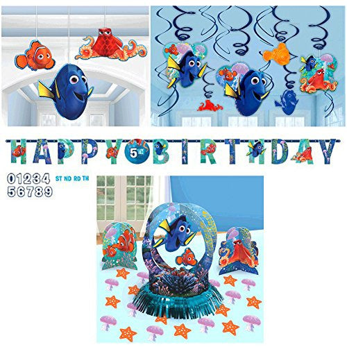 Finding Dory Decorations Party Supplies Pack Includes: Table Decorating Kit, Letter Banner, Hanging Swirls, and Hanging 3D Honeycomb Decorations
