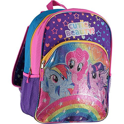 "My Little Pony Kid's ""Rainbows Sequins"" 16-Inch Backpack, Multi"