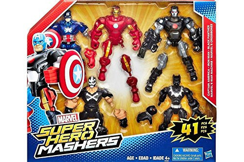 Marvel Super Hero Mashers with Captain America, Iron Man, Black Panther, Marvel's War Machine,and Marvel's Crossbones.