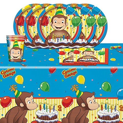 Curious George Children's Birthday Complete Party Tableware Pack for 16