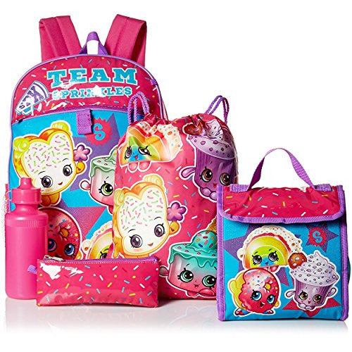 12149610d74 Shopkins Girls  5 Pc Backpack Set