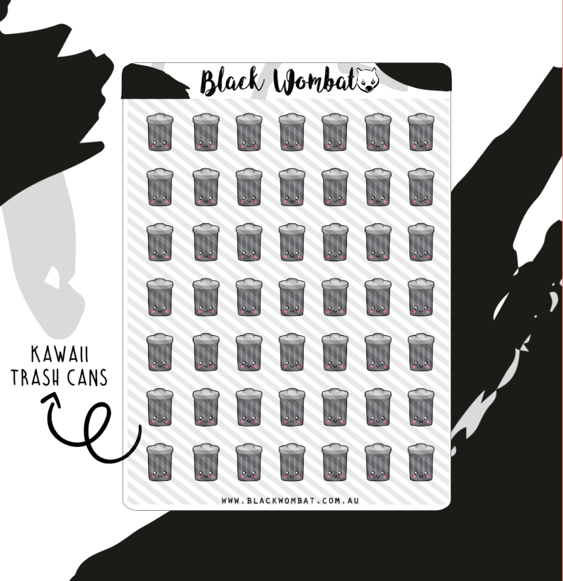 Kawaii Trash Can Planner Stickers