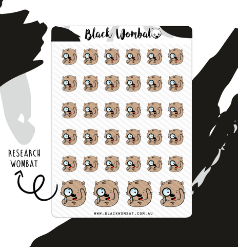 Research/Magnifying Glass Wombat Planner Stickers