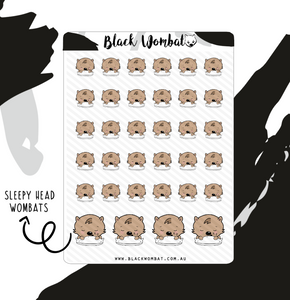 Sleepy Head Wombat Planner Stickers