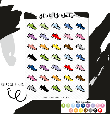 Running shoes, exercise Planner Stickers