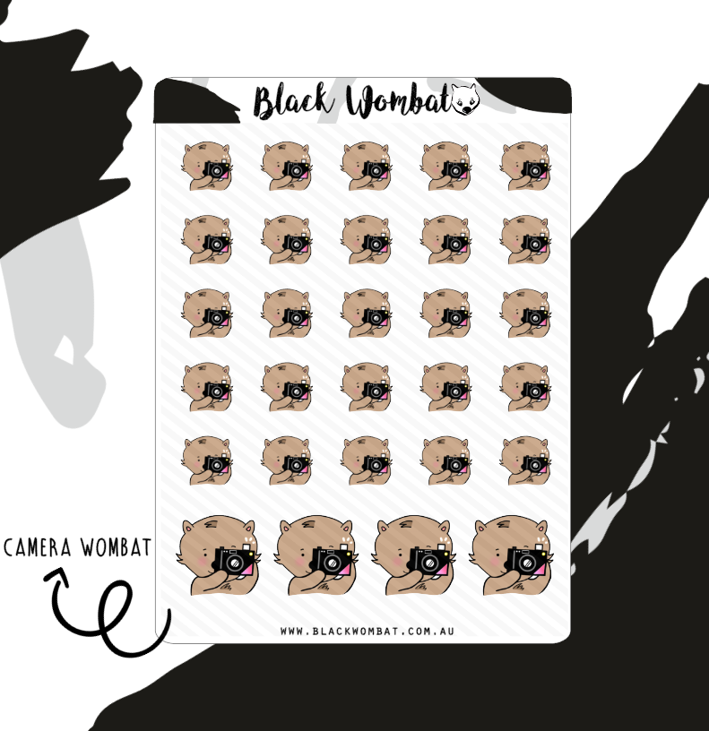 Camera Wombat Planner Stickers
