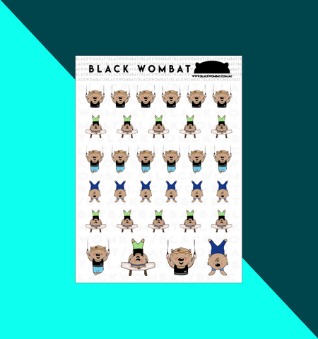 Gym, Gymnastics Wombat Planner Stickers
