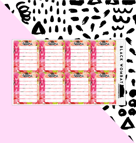 Dinners Weekly Floral Tracker Planner Stickers