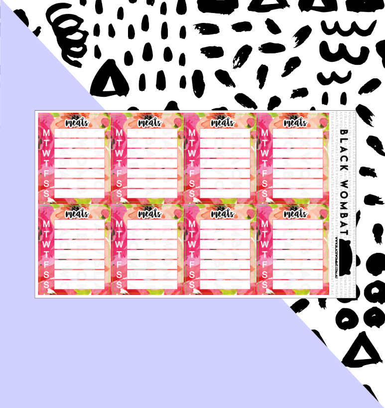 Meals Weekly Floral Tracker Planner Stickers