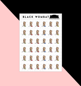 Vacuum Cleaning Wombat Planner Stickers