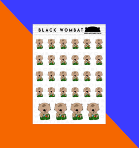 Grocery Shopping, Green bags Wombat Planner Stickers