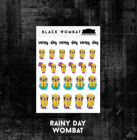 Rainy Day Wombat Planner Stickers