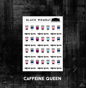 Caffeine Queen, Coffee Cup Planner Stickers