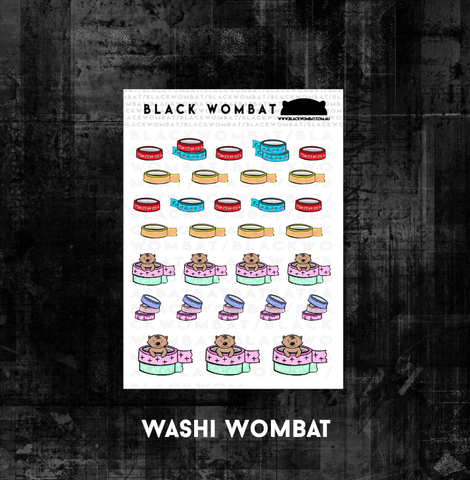 Washi Tape Wombats Planner Stickers
