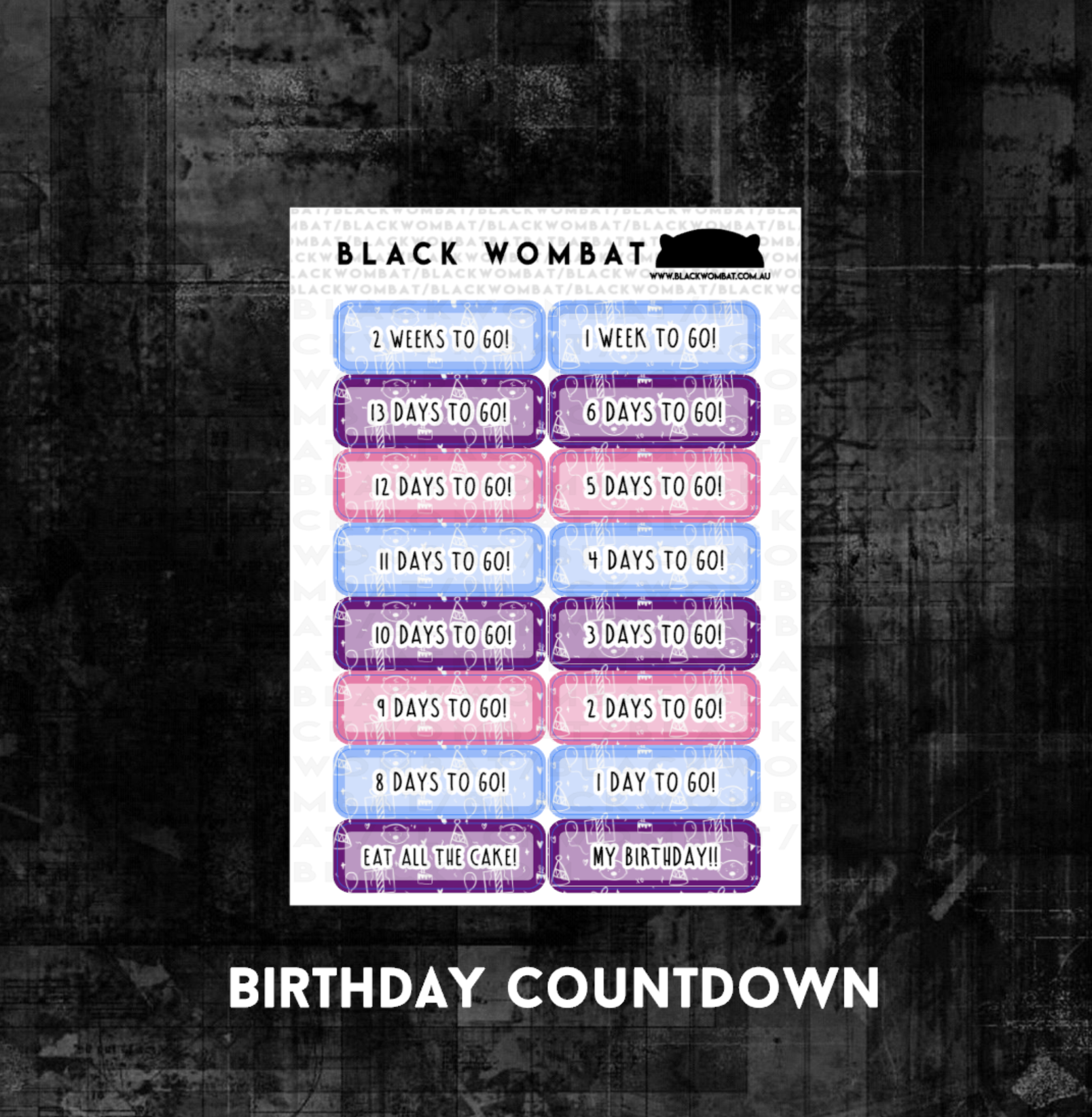 Birthday Countdown Planner Stickers