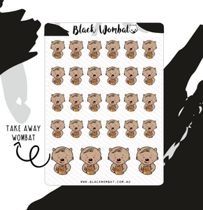 Take-Away, Junk Food Wombat Planner Stickers