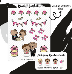 Wedding Couples Wombat Planner Stickers