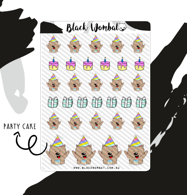 Birthday Cake Wombat Planner Stickers