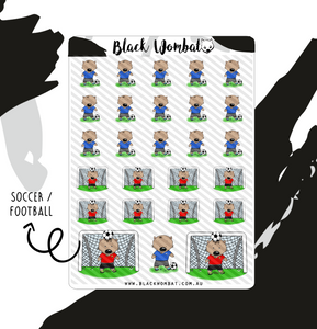 Soccer, Football Wombat Planner Stickers