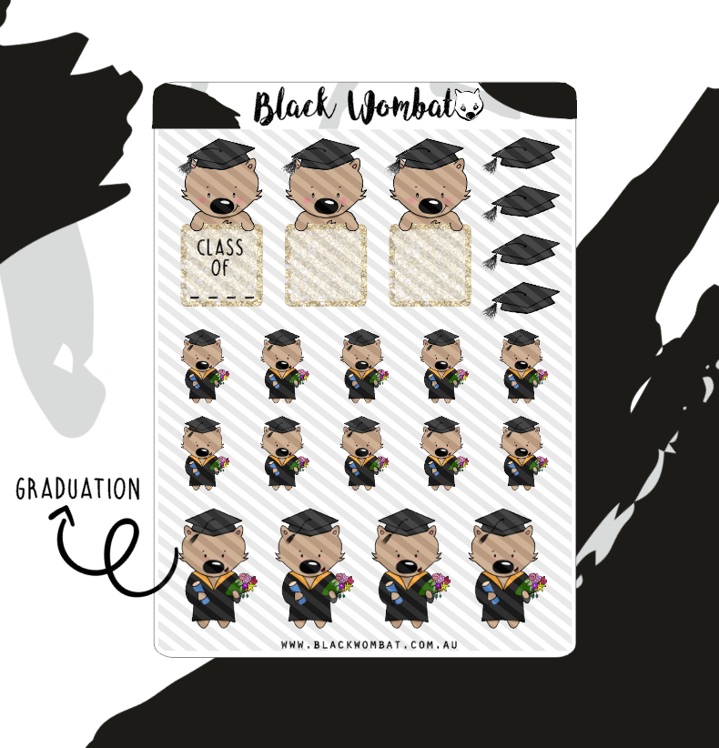 Graduation Wombat Planner Stickers