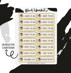 Graduation Countdown Wombat Planner Stickers