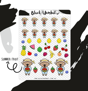 Strawberry, Summer Fruit Wombat Planner Stickers