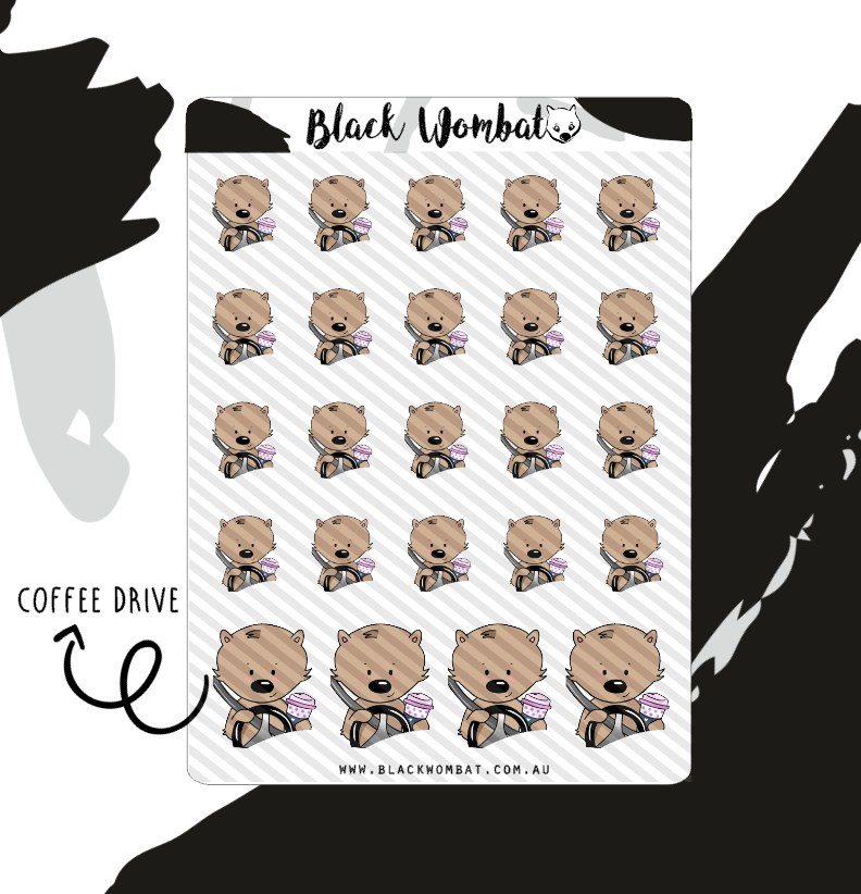 Coffee Drive, Drive Thru Coffee Wombat Planner Stickers