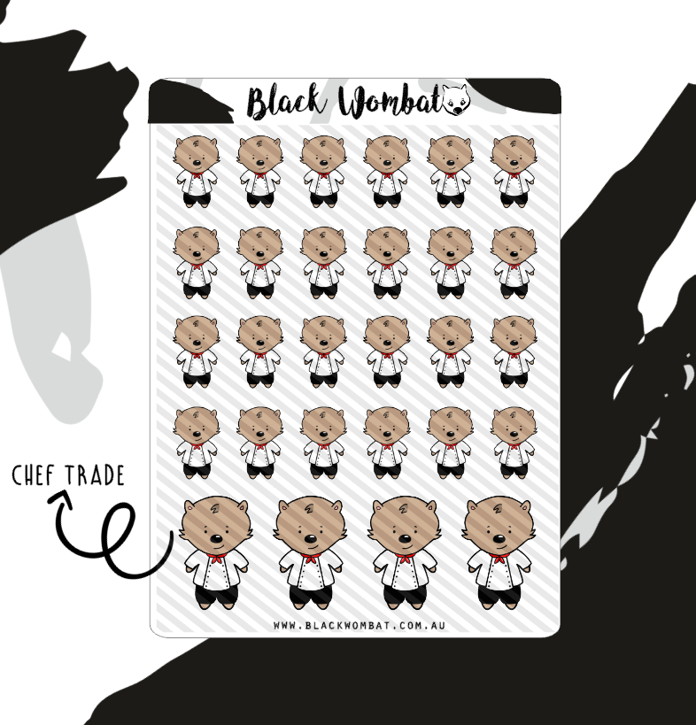 Chef, Cooking Wombat Planner Stickers